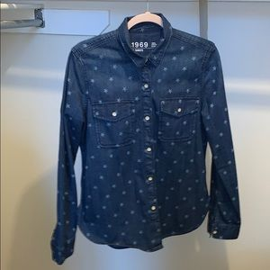 GAP 1969 100% Cotton Denim Star Button Down Shirt